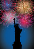Happy New Year fireworks in USA. Happy New Year fireworks New York city with Liberty statue silhouette night scene. EPS10 vector with transparencies layered for Stock Photography