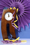 Happy New Year five to midnight time countdown with crazy crooked legs clock. Royalty Free Stock Images