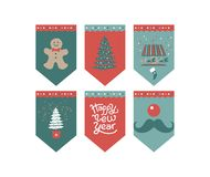 Happy New year Flags design. Flags design set for a festive garland with the inscription Happy New year. Mask rabbit, garland, confetti, sock for gifts. For new vector illustration
