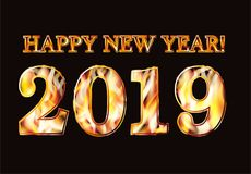 Happy New 2019 Year flame invitation banner. Vector illustration vector illustration