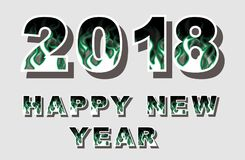 2018 happy new year flames style green. For web Stock Photos
