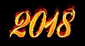 2018 Fire Number On Black. Happy New Year 2018 with flaming fire burn and the black background isolated Royalty Free Stock Photos