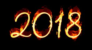 Fire Number On Black 2018/. Happy New Year 2018 with flaming fire burn and the black background isolated Royalty Free Stock Photo