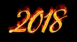 2018 Fire Number On Black. Happy New Year 2018 with flaming fire burn and the black background isolated Stock Photos