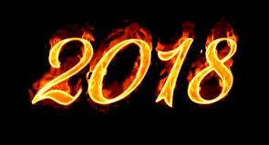 2018 Fire Number On Black. Happy New Year 2018 with flaming fire burn and the black background isolated Royalty Free Stock Photography