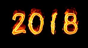 Fire Number On Black 2018/. Happy New Year 2018 with flaming fire burn and the black background isolated Stock Photography