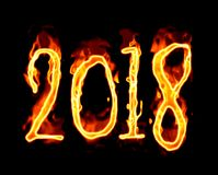2018 Fire Number On Black Background/. Happy New Year 2018 with flaming fire burn and the black background isolated Royalty Free Stock Photos