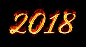 2018 Fire Number On Black Background/. Happy New Year 2018 with flaming fire burn and the black background isolated Stock Photos