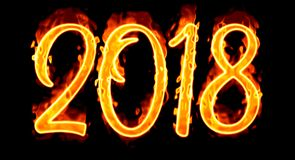 2018 Flaming Number On Black Royalty Free Stock Photo