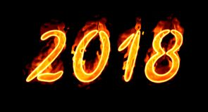 New Year 2018 Flaming Number On Black. Happy New Year 2018 with flaming fire burn and the black background isolated Stock Image