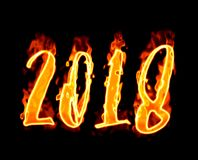 New Year 2018 Flaming Number On Black. Happy New Year 2018 with flaming fire burn and the black background isolated Stock Photos