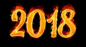 Happy New year 2018 flaming flame fire number on black background Royalty Free Stock Image