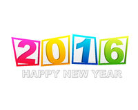 Happy new year 2016 in flat colored tablets Royalty Free Stock Photography