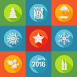 Happy New Year 2016 flat icons set with berry, christmas tree,. 