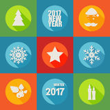 Happy New Year 2017 flat icons set with berry, christmas tree, Royalty Free Stock Photos