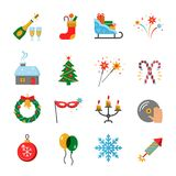 Happy New Year flat icons set. Happy New Year icons set. Celebration Icons and Party Icons collection. Christmas party elements. New Year Flat pictograms for Royalty Free Stock Photos