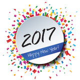 Happy New Year 2017 flat label stamp. Royalty Free Stock Images