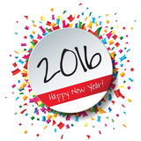 Happy New Year 2016 flat label and stamp. Royalty Free Stock Photography