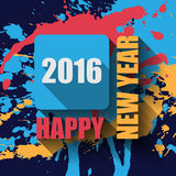 Happy New Year 2016 flat label and stamp. Stock Photography