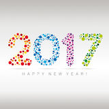 Happy New Year - 2017. Flat multicolor New Year numerals with bubbles design on a subtle background Royalty Free Stock Photo
