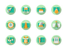 Happy New Year flat round icons. Set of flat color round icons for New Year party. Christmas decoration, countdown, firework. New Year 2016. Design elements for stock illustration