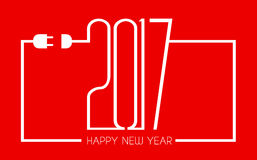 2017 Happy New Year Flat Style Background. With stylized cable wire Royalty Free Illustration