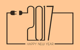 2017 Happy New Year Flat Style Background with stylized cable wire. For your seasonal purposes Stock Illustration