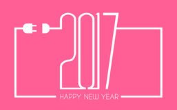 2017 Happy New Year Flat Style Background with stylized cable wire Stock Image
