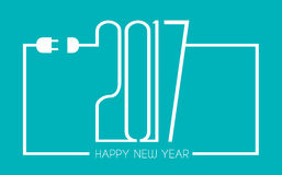 2017 Happy New Year Flat Style Background with stylized wire cables. 2017 Happy New Year Flat Style Background with stylized cable wire Stock Illustration