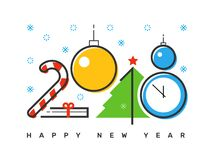 Happy 2018 new year flat thin line horizontal colorful greeting card design. Isolated snow flakes, gift box, star, tree, clock, candy & balls on white Royalty Free Stock Photo