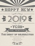 2019 HAPPY NEW YEAR FLAYER VINTAGE RETRO POSTER. 2019 HAPPY NEW YEAR FLAYER VINTAGE RETRO vector illustration