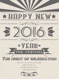 2016 HAPPY NEW YEAR FLAYER VINTAGE RETRO POSTER. AND MERRY CHRISTMAS Royalty Free Stock Photos