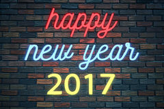 Happy new year 2017, flickering blinking neon sign on brick wall background royalty free illustration
