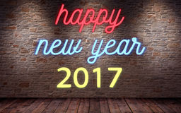 Happy new year 2017, flickering blinking neon sign on brick wall and wood background stock illustration
