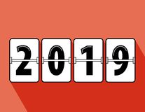 Happy new year 2019 flip clock style. Happy New Year 2019 scoreboard vector illustration. Mechanical clock on digits board panel in flat style. All in a single vector illustration