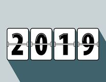 Happy new year 2019 flip clock style. Happy New Year 2019 scoreboard vector illustration. Mechanical clock on digits board panel in flat style. Blue Background vector illustration