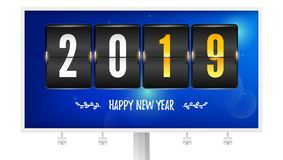 Happy new year 2019. Flip countdown timer on billboard. Number of year and handwritten text. Airport timetable on winter. Background. Mechanical scoreboard of stock illustration
