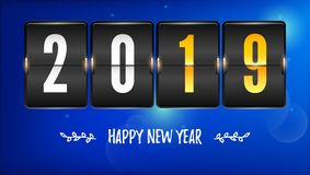 Happy new year 2019. Flip countdown timer with number of year and handwritten text. Airport time table with numbers on. Winter background. Mechanical scoreboard stock illustration