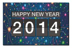 Happy new year 2014 - flipper clock with fireworks background. Suitable for new year celebrations Royalty Free Stock Photos