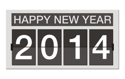 Happy new year 2014 - flipper clock Royalty Free Stock Photo