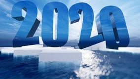 Happy New Year 2020. Float over the blue ocean with bright light stock illustration