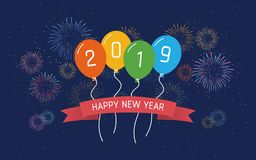 Happy new year 2019 in floating party balloon and ribbon with colorful fireworks in flat icon design on dark blue color background. Happy new year 2019 in stock illustration
