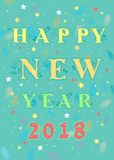Happy New Year 2018. Floral card Stock Images