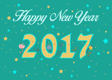 Happy New Year 2017. Floral decor. Happy New Year 2017. Calendar template. Yellow hand drawn symbols with floral decor. Celebration green background with Stock Photography