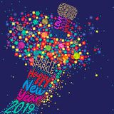 Happy New Year 2019 with a floral explosion royalty free illustration