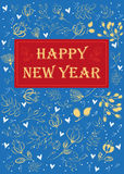 Happy New Year. Floral greeting card. Royalty Free Stock Image