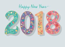 Happy New Year 2018. Floral Number. Coloful numerals with decor of graceful flowers and watercolor blurs. Vector Illustration stock illustration