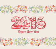 Happy new year 2016 with floral ornament background Royalty Free Stock Image