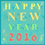 Happy New Year with floral pattern Royalty Free Stock Image