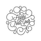 Happy New Year flourish calligraphy lettering of swash line typography for greeting card design. Vector festive ornamental quote N. Ew Year text of swirl pattern Royalty Free Stock Photo